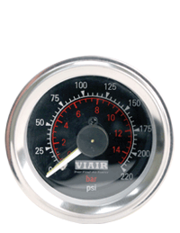 VIAIR offers a full line of air gauges including: air down gauges, illuminated dash panel gauges, in-dash gauges, as well as analog and digital tire gauges.