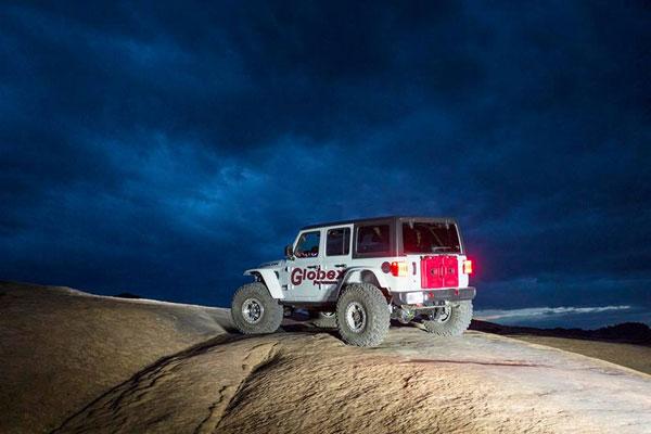 Night shot Jeep at MOAB